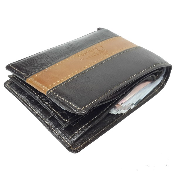 A.Antonio men leather wallet, bifold design, #3622G