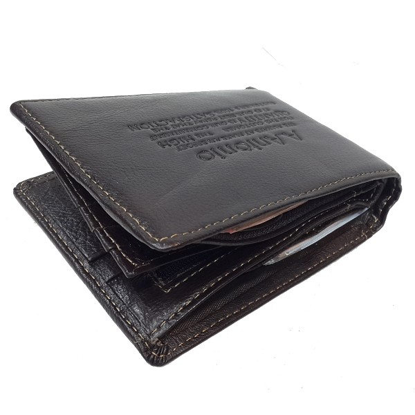 A.Antonio men leather wallet, bifold design, #3633B