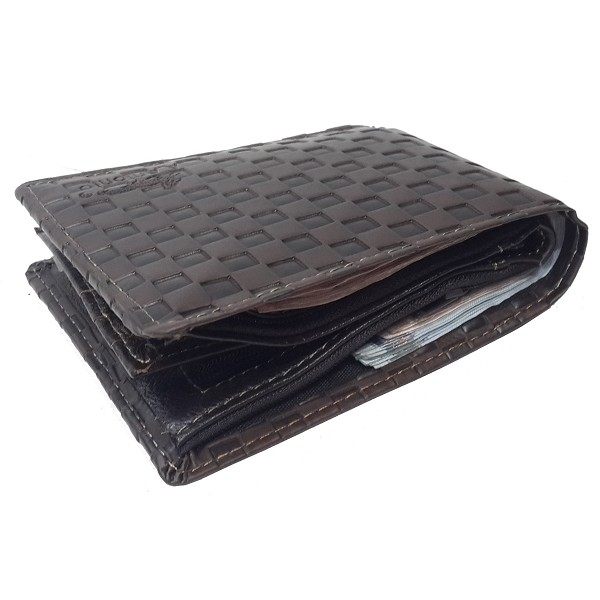 A.Antonio men leather wallet, bamboo design